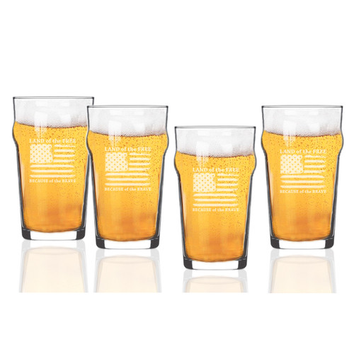 Land of the Free Because of the Brave Set of 4  Nonic/Pub Glasses  16 oz