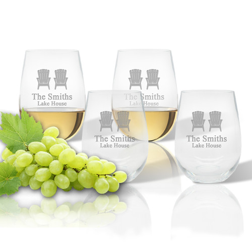 Stemless Wine Tumbler  (Set of 4) : Adirondack Chairs