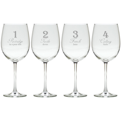 DAYS OF CHRISTMAS 1-4 STEMWARE - SET OF 4 (GLASS)