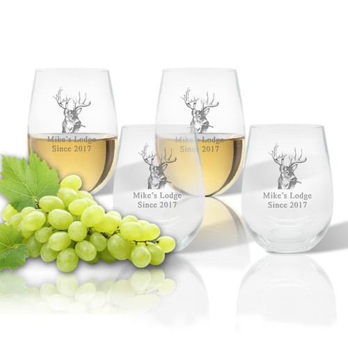 Stemless Wine Tumbler  (Set of 4): Buck Lodge