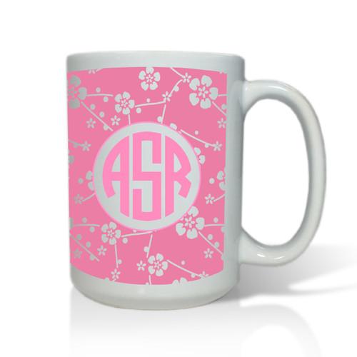 Personalized White Mug  15 oz.Asian Elements - SatsumaCircle Monogram