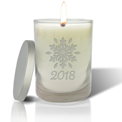 Soy Glass Candle - Snowflake with Year