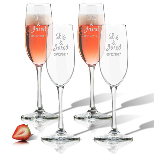 personalized champagne flute set of 4 glass personalized carved