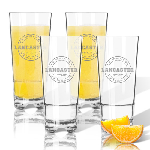 PERSONALIZED HIGHBALL SET OF 4 (Unbreakable): Sports Bar and Grill
