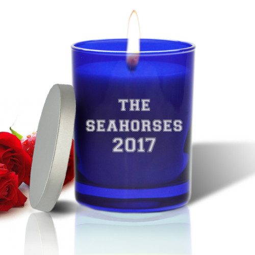 Sapphire Soy Glass Candle - Personalized for Teacher