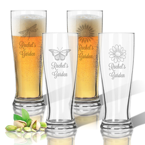 Tritan Pilsner 14 oz (Set of 4): Garden with Name