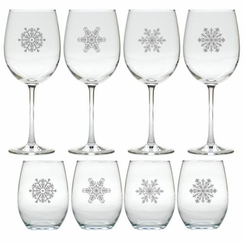 SNOWFLAKE WINE GIFT SET (SET OF 4 STEMLESS & 4 STEMMED)