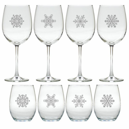 SNOWFLAKE WINE GIFT SET (SET OF 4 STEMLESS & 4 STEMMED)