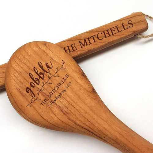 """15"""" Cherry Wooden Spoon - Gobble Motif with Personalization"""