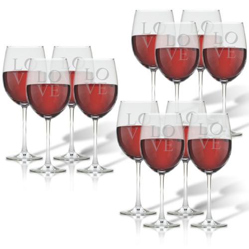 SET OF 3 - WINE STEMWARE - SET OF 4 (GLASS) : LOVE
