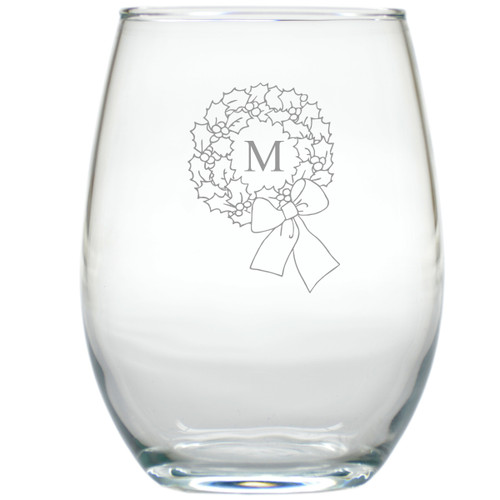 PERSONALIZED INITIAL WREATH WINE STEMLESS TUMBLER - SET OF 4 (GLASS)