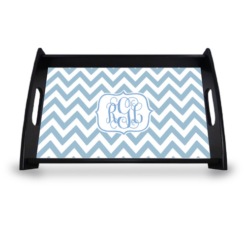 Personalized Serving Tray - Chevron Vine Monogram
