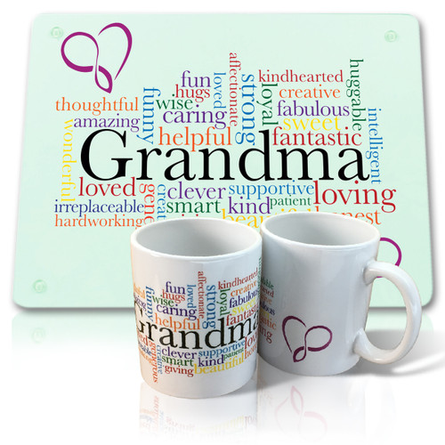 Grandma Mug and Glass Cutting Board
