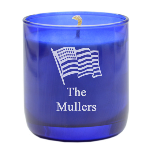 PERSONALIZED FLAG COBALT COLLECTION CANDLE