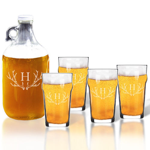 64oz GROWLER and NONIC PINT GLASS SET OF 4 GLASSES: PERSONALIZED ANTLER MOTIF