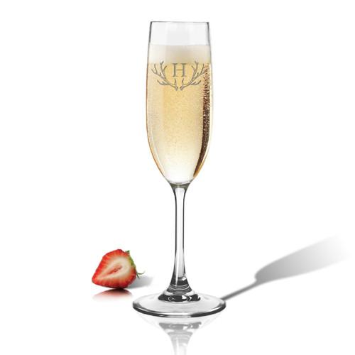 Tritan Champagne Flute 6.5oz Antler Initial Motif