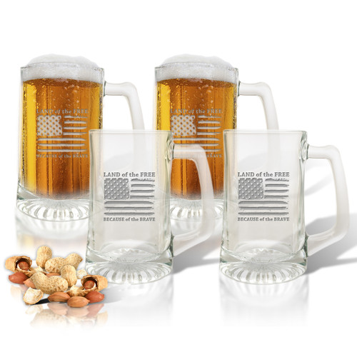 Land of the Free Because of the Brave Set of 4  Sport Mugs 15 oz