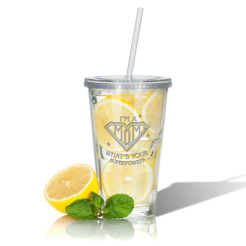 PERSONALIZED DOUBLE WALLED TUMBLER WITH STRAW: SUPER MOM