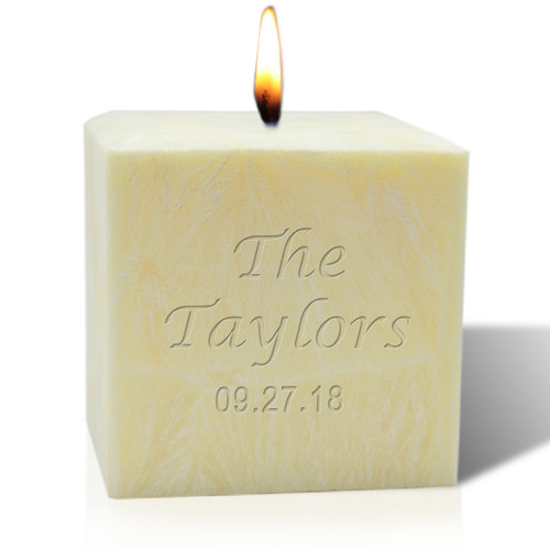 "4"" Pure Aromatherapy Palm Wax Candle - Name & Date"