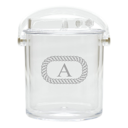 Personalized Insulated Ice Bucket with Tongs - Oval Rope