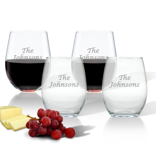 PERSONALIZED NAME WINE STEMLESS TUMBLER - SET OF 4 (GLASS)
