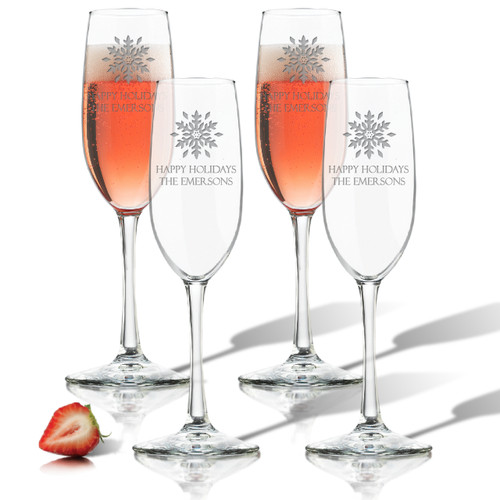 PERSONALIZED SNOWFLAKE CHAMPAGNE FLUTE SET OF 4 (GLASS)
