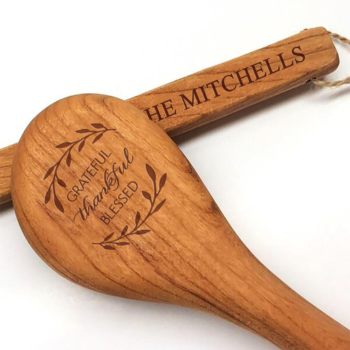 "15"" Cherry Wooden Spoon - Grateful Thankful Blessed Motif with Personalization"