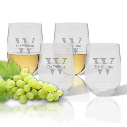 Stemless Wine Tumbler  (Set of 4): Split Letter