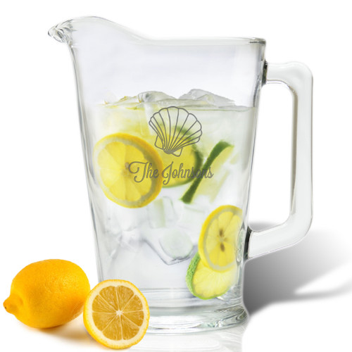 PERSONALIZED SCALLOP PITCHER  (GLASS)