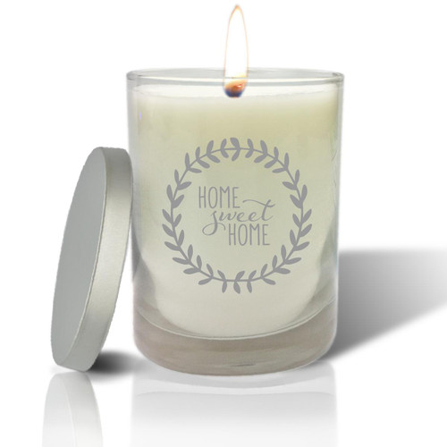 Soy Glass Candle - Home Sweet Home with Wreath