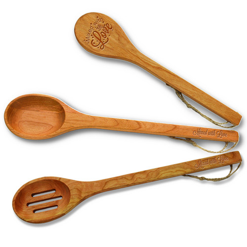 Cherry Wooden Spoon Set - Mixed with Love