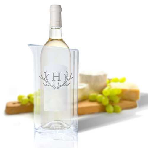 Personalized Iceless Wine Bottle Cooler - Antler Initial Motif