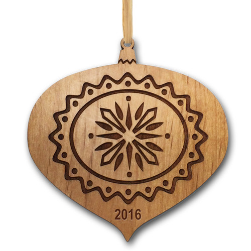 Personalized Alder Wood Ornament: Teardrop Christmas