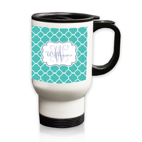 Personalized White Stainless Steel Travel Mug - 14 oz.Moroccan Vine Initial and Name