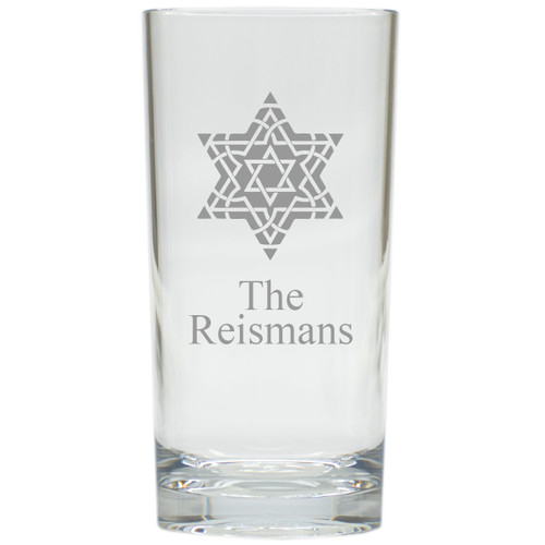 PERSONALIZED FANCY STAR OF DAVID COOLER: SET OF 6 (Glass)