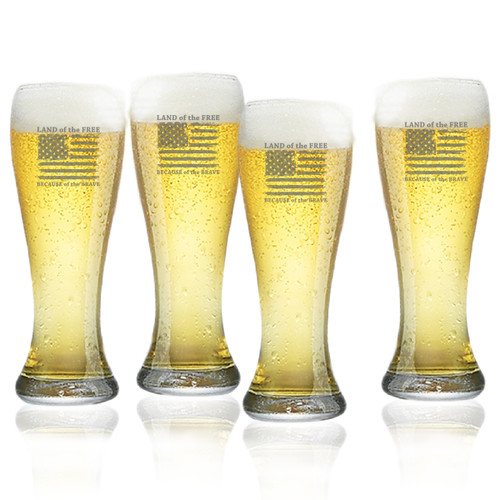 Land of the Free Because of the Brave Set of 4  Pilsner Glasses 16oz