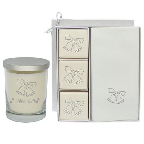 Eco-Luxury Courtesy Gift Set & Glass Jar Candle - Silver Bells