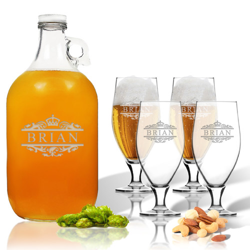 5 Piece Set: Growler  64 oz.  & Cervoise Glass  16.75 oz. (Set of 4) Personalized Scotts Design