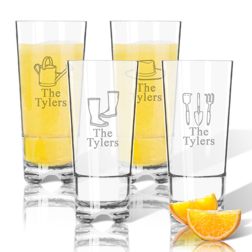 Tritan High Ball Glasses 16 oz (Set of 4) : Gardener with Name