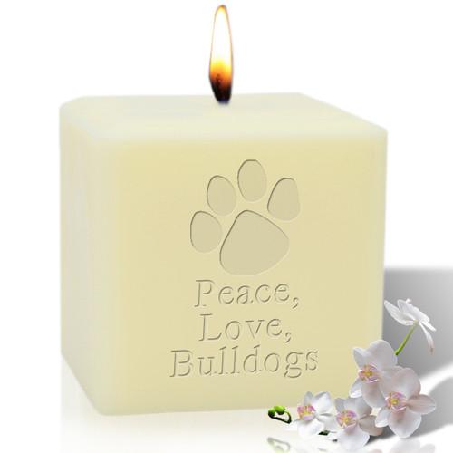"4"" Soy Pillar Candle - Paw Print Bulldog"