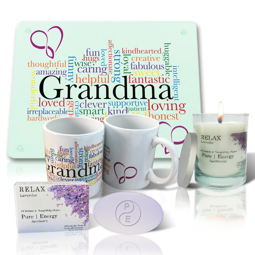 Pure Energy Apothecary Lavender Soap, Candle, Grandma Cutting board and Mug