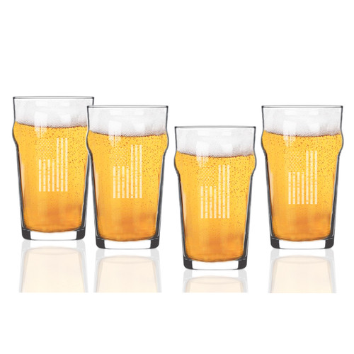 Vertical American Flag Set of 4  Nonic/Pub Glasses  16 oz