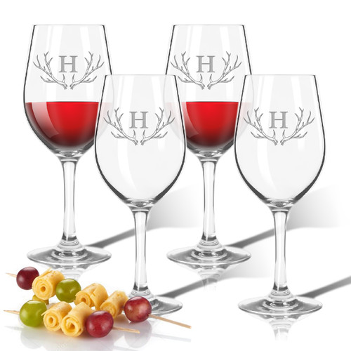 Tritan Wine Stem 12oz (Set of 4) Antler Initial Motif