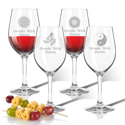 Tritan Wine Stems 12 oz (Set of 4): Solstice  with Name