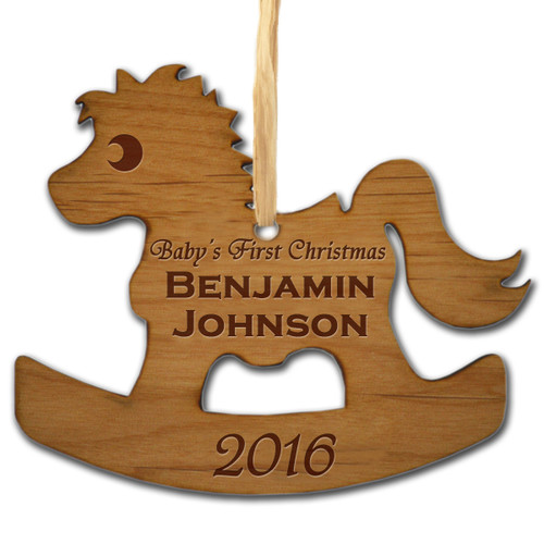 BABY'S FIRST PERSONALIZED WOODEN ORNAMENT