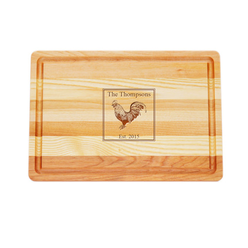 "Medium Master Cutting Boards 14.5"" X 10"" - Personalized Rooster"