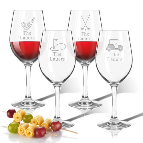 Tritan Wine Stems 12 oz (Set of 4): Golf  with name