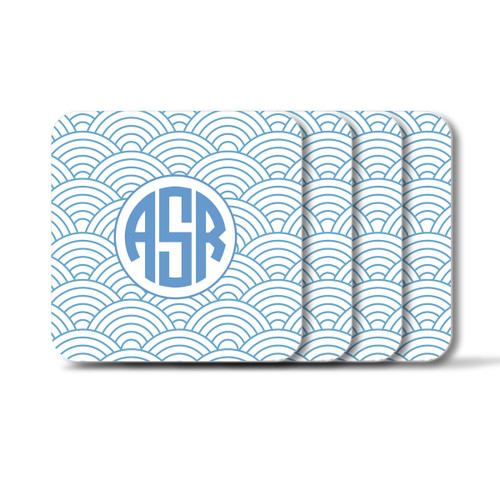 Personalized Square Coasters, Set of 4 - Wild Blue Lupin Circle Monogram