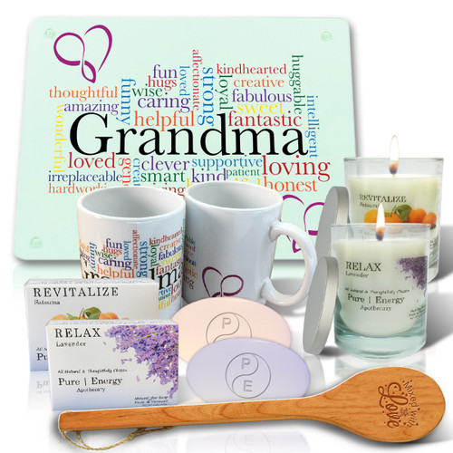 Pure Energy Apothecary Lavender and Satsuma Soaps, Candles, Grandma Cutting board, Mug and spoon