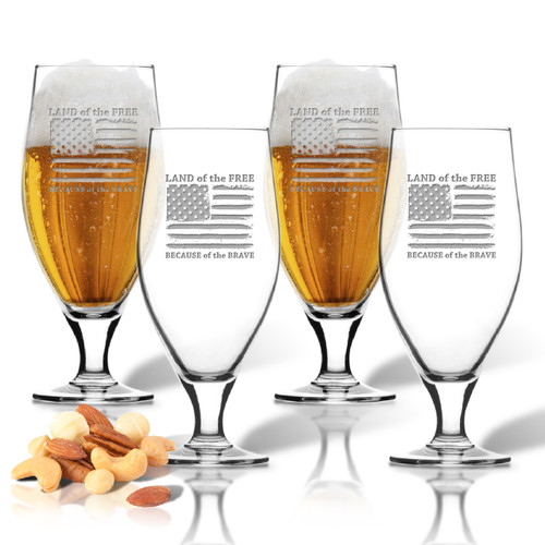 Land of the Free Because of the Brave Set of 4  Cervoise Glasses 16 oz